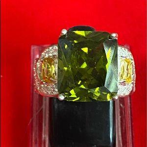 Emerald Cut Peridot/White Sapphire 925 Band